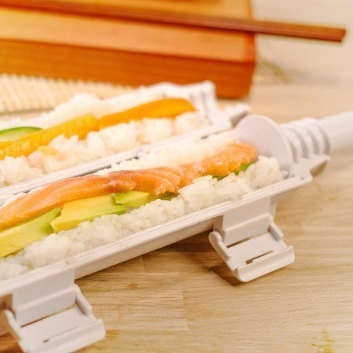 Sushi Bazooka, Sushi Mat and Two Sets of Bamboo Chopsticks and Silicone Helper (Training) Chopsticks,Kitchen Appliance Machine Rice Roller Making Kit by Cook&Life (Image #5)