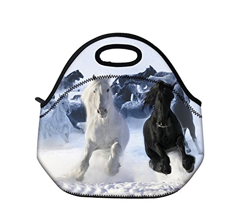 Kids Boys Girls Insulated Neoprene Lunch Bag /Lunch Box/Lunch Tote/Picnic Bags Tote Handbag Lunch Box Food Container Gourmet Tote Cooler Warm Pouch Lightweight With Rugged Zipper & Space (Cool Horse)