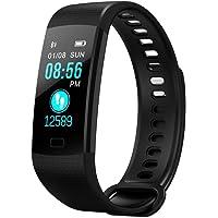 relojes deportivos, Pulsera Actividad Pulsera Inteligente Impermeable con Monitor de Sueño y Calorías, Podómetro, Pulsera Bluetooth Compatible con iOS y Android, Soporte SMS, WhatsApp, Facebook