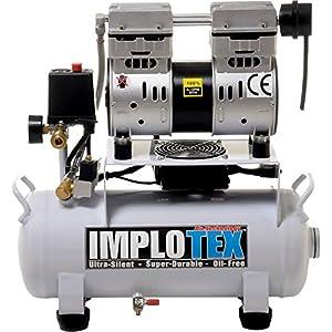 IMPLOTEX – Compresor de aire comprimido silencioso (850 W, 14 L, solo 55 dB, sin aceite)