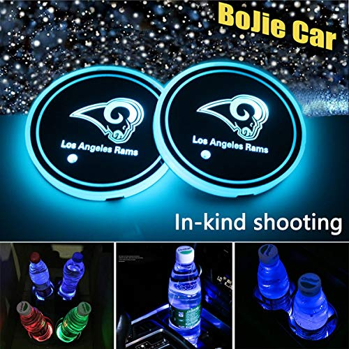 (2pcs NFL Los Angeles Rams LED Car Cup Holder Lights for All Auto Models, 7 Colors Changing USB Charging Mat Luminescent Cup Pad, LED Interior Atmosphere Lamp Decoration Light. (Los Angeles Rams))