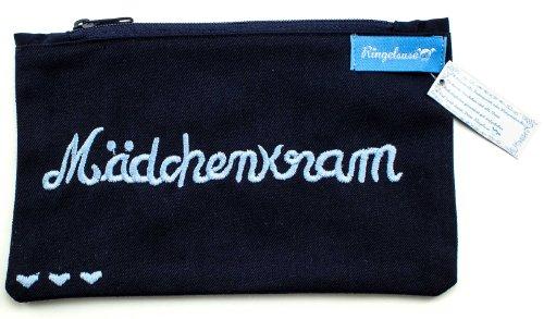Kosmetiktäschchen/Schminkbeutel/Kulturtasche *Mädchenkram* dunkelblau 100% Baumwolle von Ringelsuse