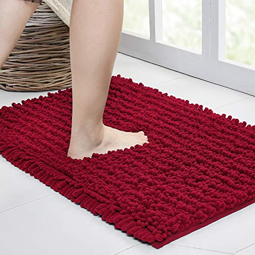 Walensee Bathroom Rug Non Slip Bath Mat (24×17 Inch Red) Water Absorbent Super Soft Shaggy Chenille Machine Washable Dry…