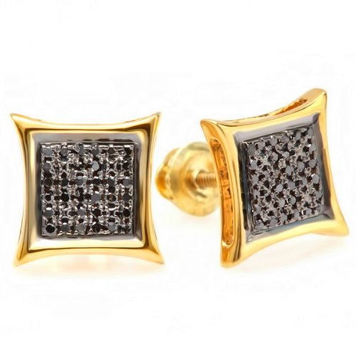 0.15 Carat (ctw) 10K Yellow Gold Black Round Diamond Micro Pave Setting Kite Shape Stud Earrings by DazzlingRock Collection