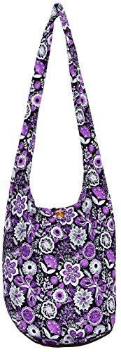 Flower Bohemian Hippie Hipster Hobo Boho Crossbody Shoulder Bag (Purple)
