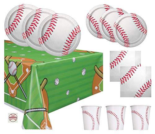 Baseball Theme Party Supplies Set - Plates, Cups, Napkins, Tablecloth Decoration (Serves 16) ()