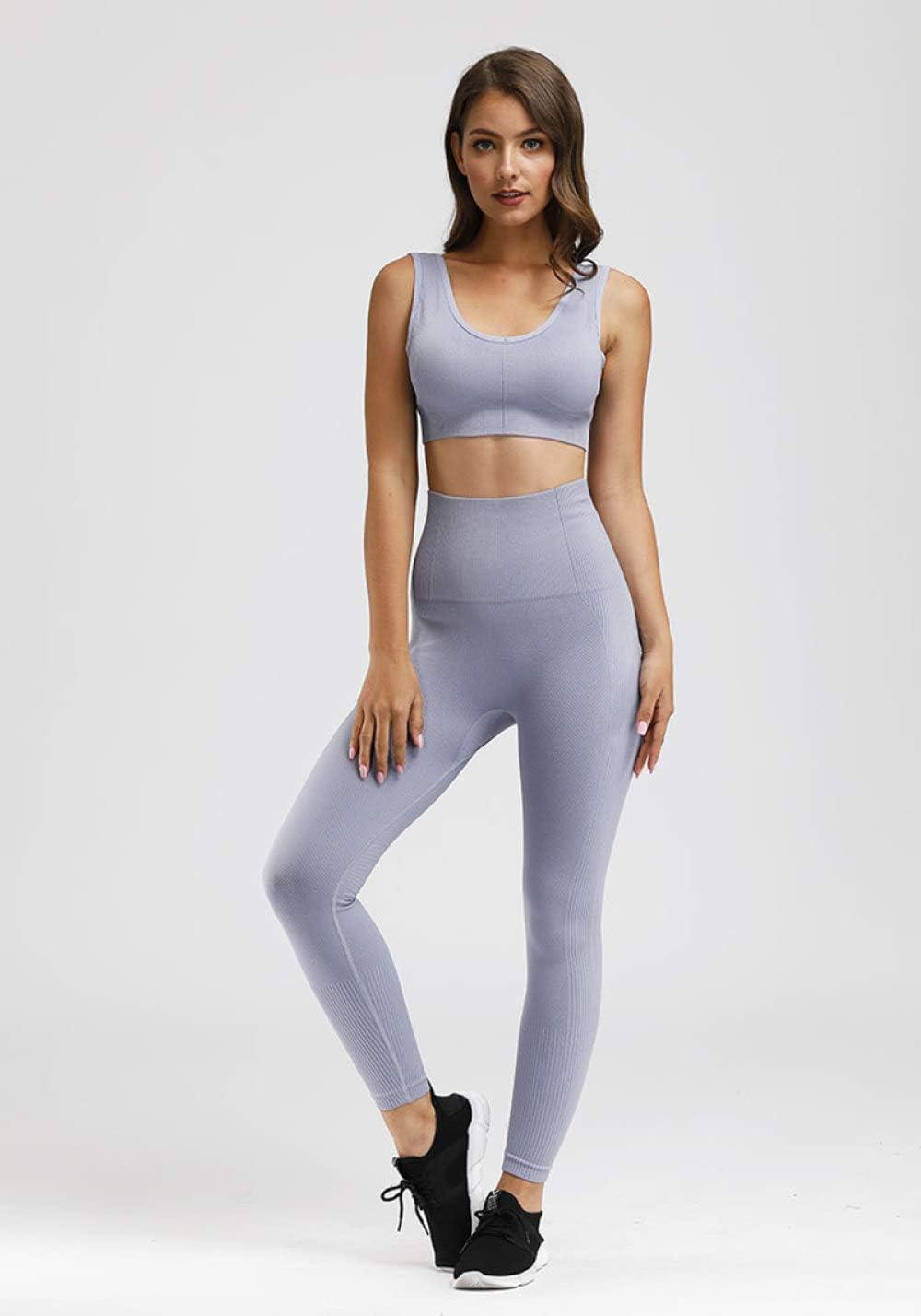 JFCDB Vêtements de Yoga,Vêtements de Sport sans Couture Femmes Sportwear Taille Haute Soutien-Gorge de Sport Workout Yoga Set Femme Fitness Sport Costumes Ensemble gris clair