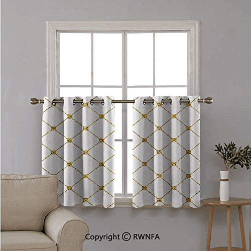 RWNFA Triple Weaved Short Curtain Tiers,Rhombus Abstract Rectangular Pattern with Square Shaped Dots,with Eyelet Top for Small Window,42