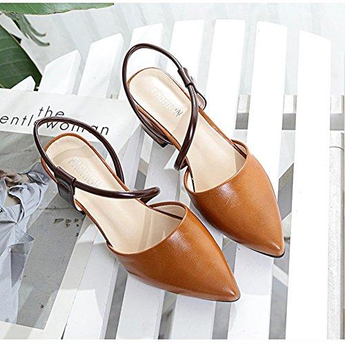 De Tacón Chanclas Hebillas Sandalias Coreanas Las Verano Mujeres Grueso Baotou Blanco Zapatos Marrón Femeninas Fei Antidérapant Puntiagudas Huecas qpftEwxHp1