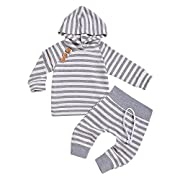 Newborn Baby Boys Girls Hooded Sweatshirt T-Shirt Tops+Striped Pants Kids Outfits Clothes Set (Grey, 0-6Months)