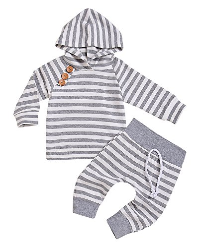 Newborn Baby Boys Girls Hooded Sweatshirt T-Shirt Tops+Striped Pants Kids Outfits Clothes Set (Grey, 12-18Months)