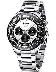 Montre Homme Montres Bracelets Etanche Chronographe Classique Montres en Acier Inoxydable Cadran Date Analogique Robe Mode