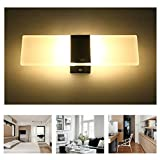 Geekercity Modern Acrylic 6W LED Wall Sconces Aluminum Lights Fixture On/Off Decorative Lamps Night Light for Pathway, Staircase, Bedroom, Balcony ,Drive Way,Warm White (11'' X 4.3'') (Black)