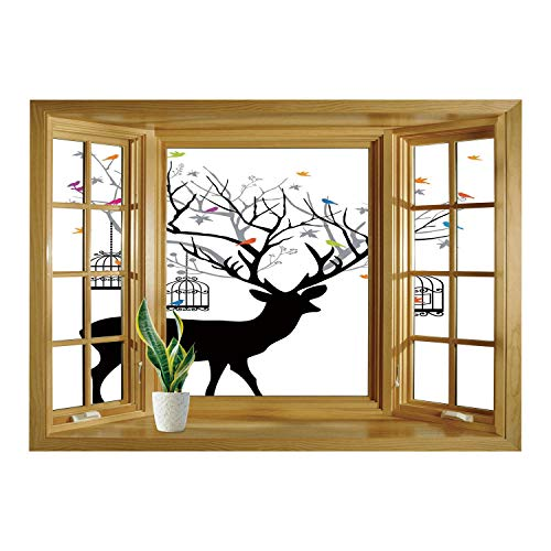 SCOCICI 3D Depth Illusion Vinyl Wall Decal Sticker/Antlers for sale  Delivered anywhere in Canada