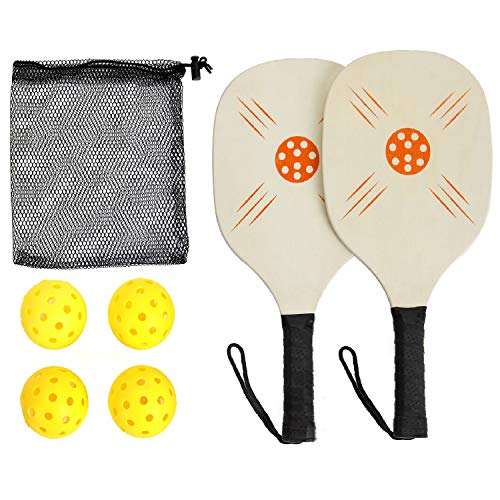 Win SPORTS Wooden Pickleball Paddle Set | Beginner Racket | Pickle Ball Paddles with 2 Paddles,4 Balls and 1 Carry Bag | Durable and Classic