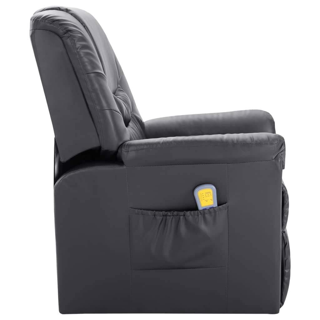vidaXL Massagesessel mit Massage Heizfunktion Elektrisch Fernsehsessel Relaxsessel TV Sessel Relaxliege Ruhesessel Liegesessel Grau Kunstleder