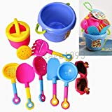 9 Beach Sand Castle Water Bath Kid Education Build Toys Bucket Spade Tools Set