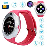 Cheap Buyeverything Bluetooth Smart Watch Round Touch Screen Smart Wrist Watch SIM Smartwatch Phone Mate Camera Pedometer Sport Fitness Tracker for Android Samsung LG for Men Women Children Kids (Pink)