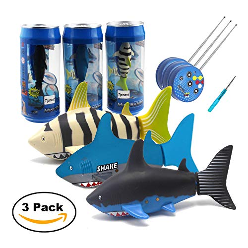 (Tipmant Mini RC Fish Shark Radio Remote Control Boat Ships & Submarine for Fish Tank, Swimming Pool, Bathtub Kids Electric Animal Toy - 3 Pack)