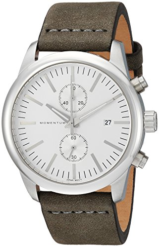 Momentum Men's Chronograph Collection Stainless Steel Japanese-Quartz Watch with Leather Strap, Green, 0.75 (Model: 1M-SN26S4G