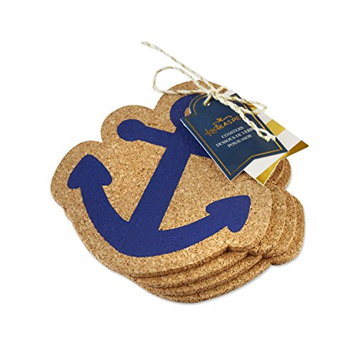 Kate Aspen 22085NA Nautical Anchor Coaster (Set of 4) One Size Blue/Brown