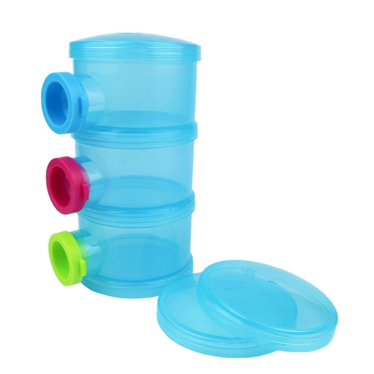 Basilic Baby Milk Powder Formula Dispenser Snack Container Cup - 3 Compartment (Blue) by Basilic