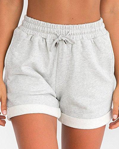 Alta Basic Pantaloncini Estate Sportivi Elasticizzati Arricciate Donna Tomwell Pantaloni Grigio Corti Pantaloncini Vita Spiaggia Shorts qnOzxw