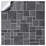 Tile Style Decals Printed in 2d - Kitchen/Bathroom Tile STICKERS for 6 inches / 15cm Square Tiles (TP 31) – Directly From, No Middleman (6' – 12 Stickers, Dark Grey)