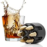 Bullet Whiskey Stones with Base Gold Extra Large Whiskey Ice Cubes Reusable - Cool Gifts for Men - Set of 6 Whiskey Bullets Stainless Steel in Revolver Base - Chilling Whiskey Rocks Gift Set by Koozam