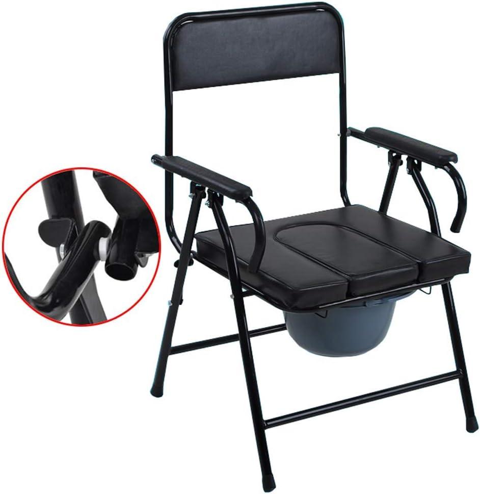 YUN TAO Médico de cabecera plegable Silla con orinal - bacinilla con asiento acolchado marco de seguridad Rieles Aseo Surround silla de ducha Aseo for ancianos / minusválidos / discapacitados Max.150k