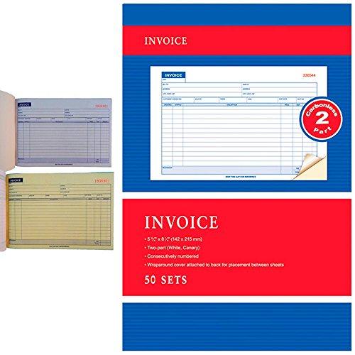 Carbonless Invoice Receipt Record Book 2 Part 50 Sets Duplicate Receipt Copy ()
