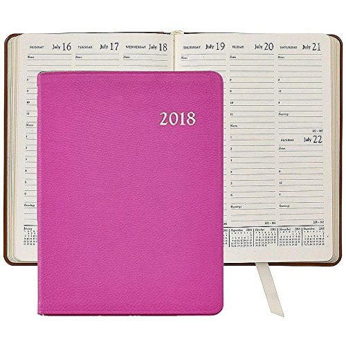 2018 ORCHID Goatskin Leather 9in Desk Diary by Graphic Im...