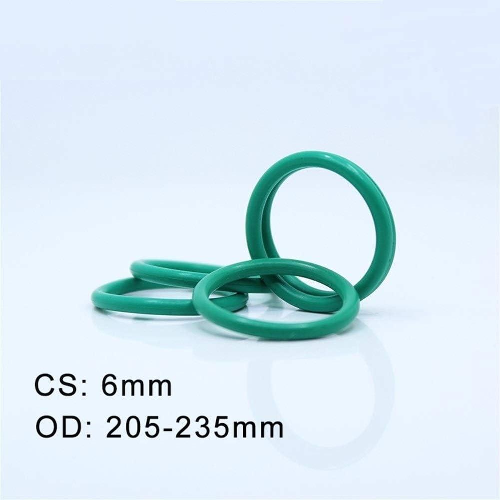 YINGJUN CS6mm FKM Rubber O Ring OD 205//210//215//220//225//230//235x6mm ORing Fluorine Gasket Oil Seal Green 2pcs O-Ring Ring Gasket Size : OD215x6mm