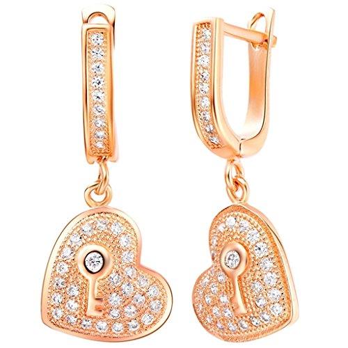 KnBoB Fashion Silver Plated Women's Earrings CZ with Key Heart Shape Rose Gold Dangle Drop Earrings