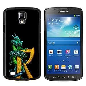 TECHCASE---Cubierta de la caja de protección para la piel dura ** Samsung Galaxy S4 Active i9295 ** --Dragón R Carta Negro Oro Fantasía libro
