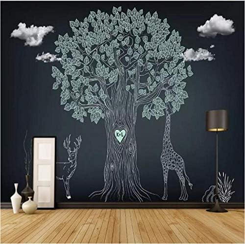 Hershop カスタム3D手描きの木大きな木のリビングルームテレビ寝室背景壁紙壁画E