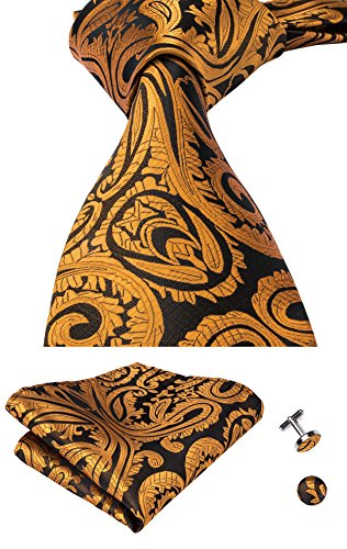 Hi-Tie Gold Paisley Necktie Woven Silk Tie Hanky Cufflinks set