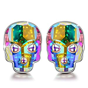 NINASUN Allergy-Free 925 Sterling Silver Skull Stud Earrings for Women With Crystals from Swarovski, Hypoallergenic material with Gift box