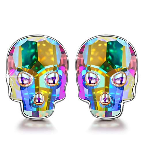 NINASUN Earrings Christmas Girl Gifts Teens Thanksgiving Kids 925 Sterling Silver Skull Head Stud Earrings Aurora Swarovski Crystal Fine Jewelry Birthday for Her Women Present Idea Sister Best Friends -