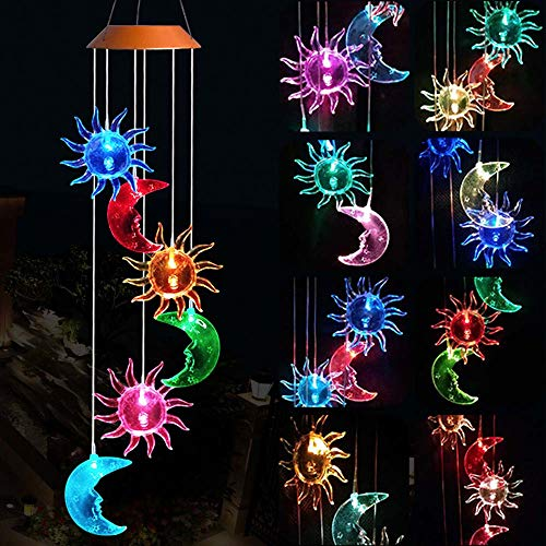 - Solar Sun Moon Wind Chimes, Outdoor Waterproof Mobile Romantic LED Color-Changing Multi Solar Sensor Powered Wind Chimes Lights for Home, Yard, Night Garden, Party, Valentines Gift, Festival Decor