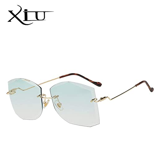 Yangjing-hl Gafas de Sol cuadradas sin Montura para Mujer ...