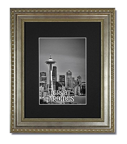 (Heritage Silver One 11x14 Ornate Picture Frames and Clear Glass with Single Black White Core Mats for 8.5x11)