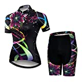 Women's Short Sleeve Cycling Jersey Set Road Bike Shirt Shorts with 3D Padded