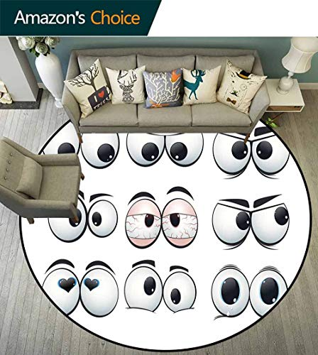 Eye Round Rug for Tent,Collection of Cartoon Expression Eyes Showing Different Emotions and Views for Dining Room,Pale Grey Blush -