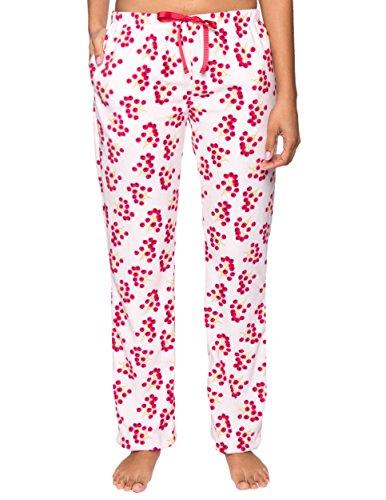 Twin Boat Women's Microfleece Lounge Pants - Winter Berries White/Red - 2XL