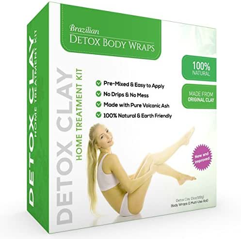 Brazilian Detox Clay Body Wraps [8-Applications] Slimming Home Spa Treatment for Cellulite, Weight Loss, Stretch Marks   Natural, Purifying Detoxifier for Smooth, Toned Skin (8 Pack)