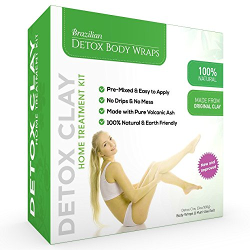 Brazilian Detox Clay Body Wraps [8-Applications] Slimming Home Spa Treatment for Cellulite, Weight Loss, Stretch Marks | Natural, Purifying Detoxifier for Smooth, Toned Skin (8 Pack) - Any Weight Loss