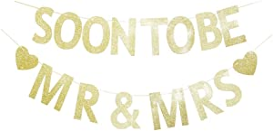 Soon to Be Mr & Mrs Gold Glitter Banner Sign Garland for Bridal Shower, Wedding Engagement, Bachelorette Party Decorations