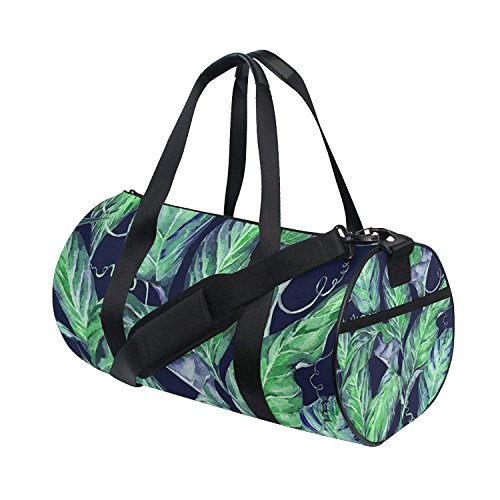 OuLian Gym Duffel Bag Watercolor Green Tropical Leaf Sports Travel Luggage Bags by OuLian