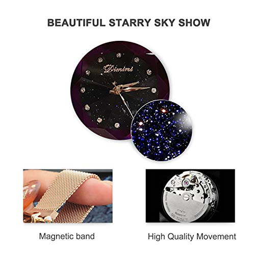 RORIOS Fashion Analogue Quartz Watches Magnetic Mesh Band Starry Sky Dial Simulated Diamond Wrist Watches for Girl/Women Waterproof by RORIOS (Image #3)